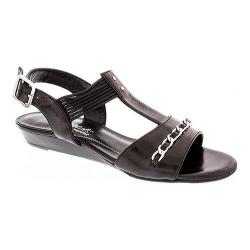Women's Rose Petals by Walking Cradles Jasmine T Strap Sandal Black Nappa Leather