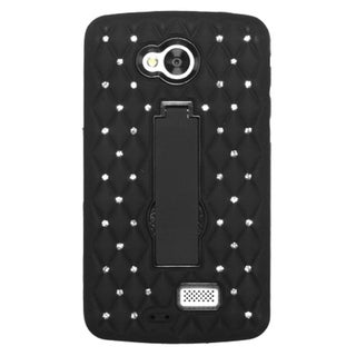 INSTEN Symbiosis Hybrid Rubber Soft Silicone/ PC Phone Case With Stand With Diamond For LG Optimus F60/ Tribute/ Transpyre
