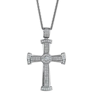 Decadence Sterling Silver Micropave Cubic Zirconia Cross Necklace