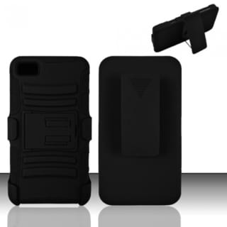 INSTEN Black Advanced Armor Dual Layer Hybrid PC/ Soft Silicone Holster Phone Case With Stand For BlackBerry Z10