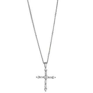 Decadence Sterling Silver Marquise/ Round Cubic Zirconia Fancy Cross Pendant