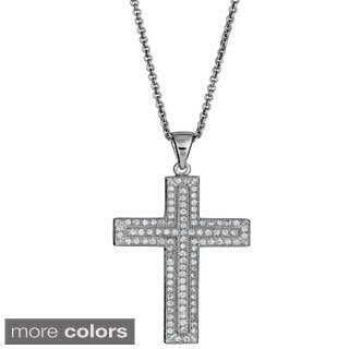 Decadence Sterling Silver Micropave Cubic Zirconia Encrusted Inner Cross Pendant