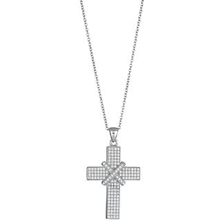 Decadence Sterling Silver Micropave Cubic Zirconia X-Cross Pendant