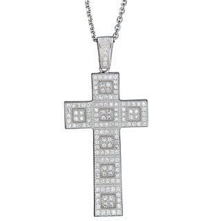 Decadence Sterling Silver Cubic Zirconia Micropave Cross Pendant