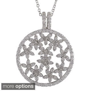 Luxiro Sterling Silver Cubic Zirconia Open Circle Filigree Floral Necklace