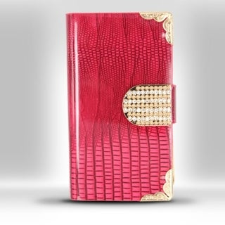 INSTEN Folio Flip Leather Phone Case Cover With Diamond For Apple iPhone 4/ 4S