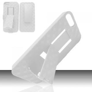 INSTEN White Lattice Dual Layer Hybrid Rubberized Hard Slim Snap-on Holster Phone Case With Stand For Apple iPhone 5/ 5S