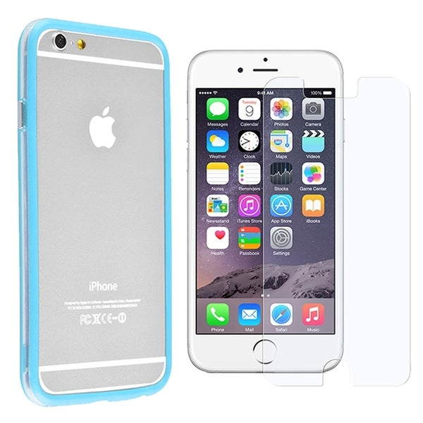 INSTEN Light Blue/ Clear Aluminum Button TPU Rubber Bumper Phone Case