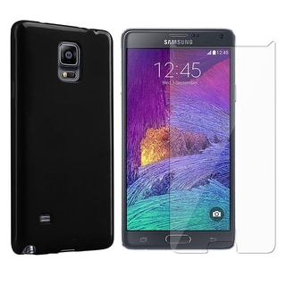 INSTEN TPU Rubber Candy Skin Phone Case Cover Combo With Clear Screen Protector For Samsung Galaxy Note 4