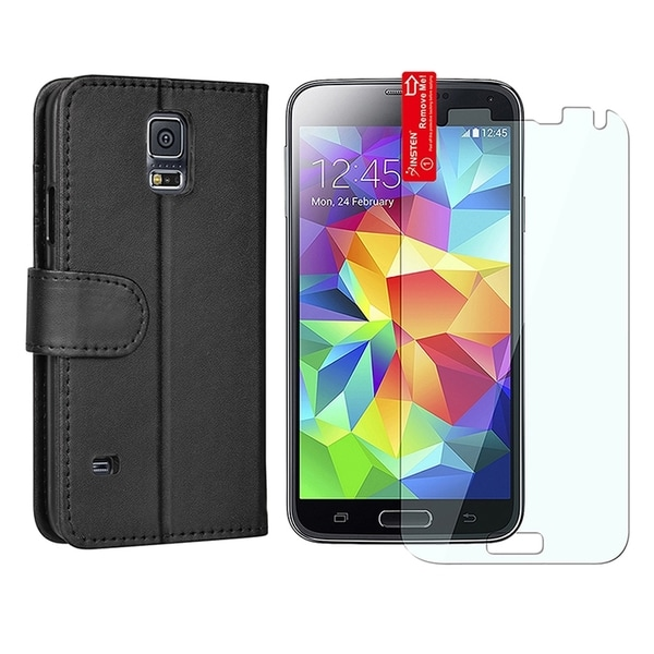 INSTEN Stand Folio Leather Wallet Flap Pouch Phone Case Cover Combo With Clear Screen Protector For Samsung Galaxy S5 SM-G900