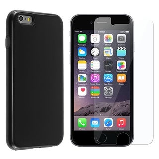 INSTEN Hybrid Rubberized PC/ Silicone Holster Phone Case Cover Combo With Clear Screen Protector For Apple iPhone 6 Plus/ 6+