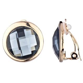 Silverton Button Grey Rhinestone Clip-on Earrings
