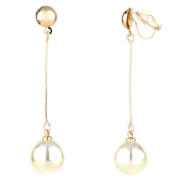 Goldtone Faux White Pearl Drop Clip On Earrings