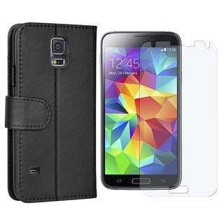 INSTEN Stand Folio Leather Wallet Flap Pouch Phone Case Cover With Anti-Glare Screen Protector For Samsung Galaxy S5 SM-G900