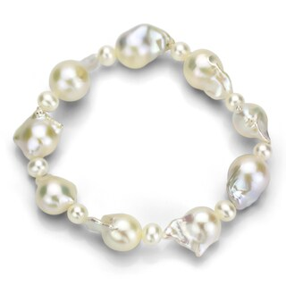DaVonna White Nucleated Freshwater Pearl Stretch Bracelet (10-11 mm)