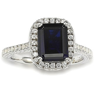 Suzy Levian Sterling Silver Blue Sapphire and White Cubic Zirconia Thin Ring