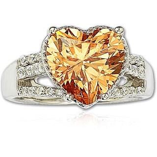 Suzy Levian Sterling Silver Heart-shape Orange Cubic Zirconia Ring