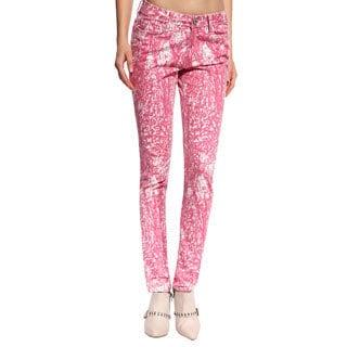 Anladia Women's Pink European Print Skinny Jeans
