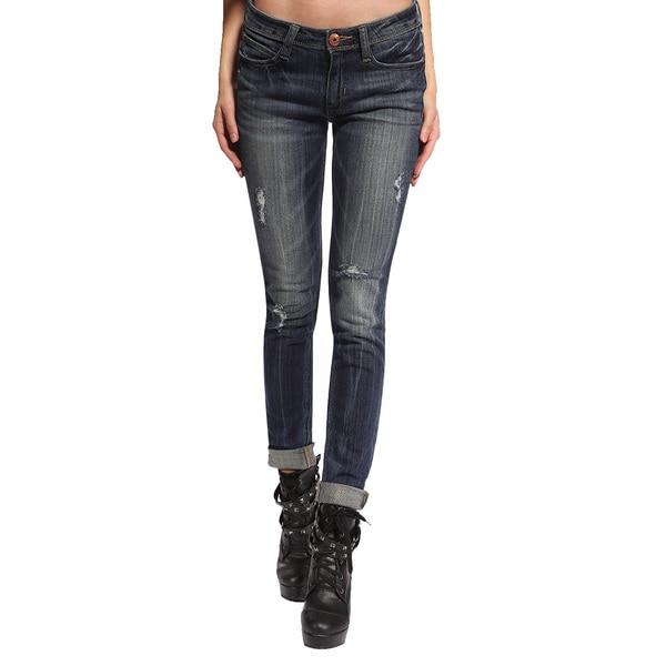 Anladia Women's Distressed Blue Skinny Jeans