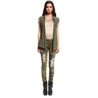 Anladia Women's Stretch Camouflage Skinny Jeans