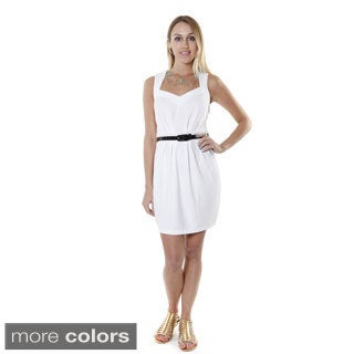 Hadari Women's Contemporary Solid Belted Sweetheart Dress