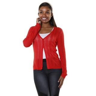 Hadari Women's Contemporary Rust Open Knit Long Sleeve Cardigan