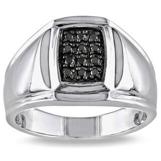 Miadora Sterling Silver Men's 1/5ct TDW Black Diamond Ring