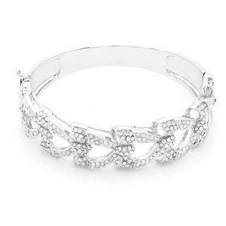Silver Overlay Crystal Bow Tie Bangle Bracelet
