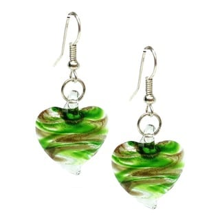 Bleek2Sheek Murano-inspired Green and Clear Swirl Heart Glass Earrings