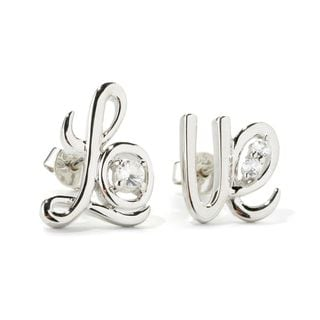 Sterling Silver White Zircon Cursive 'Love' Stud Earrings