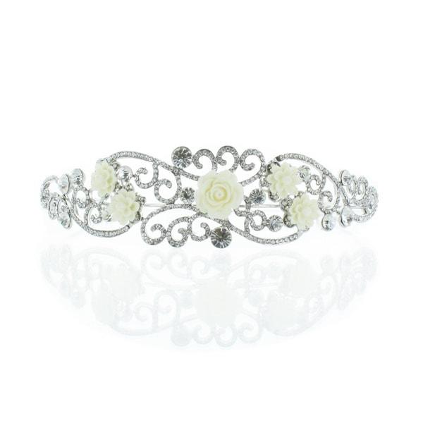 Kate Marie 'Niki' Silver Rhinestone Crown Tiara with Ivory Flowers