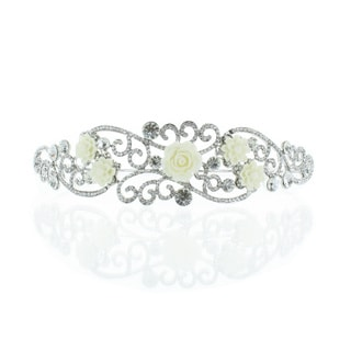 Kate Marie 'Niki' Silver Rhinestone Crown Tiara with Ivory Flowers