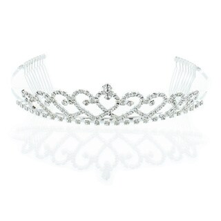 Kate Marie 'Edie' Silver Rhinestone Crown Tiara