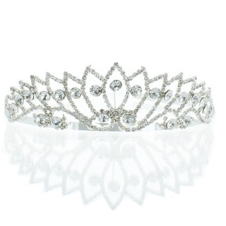Kate Marie 'Lela' Silver Rhinestone Crown Tiara