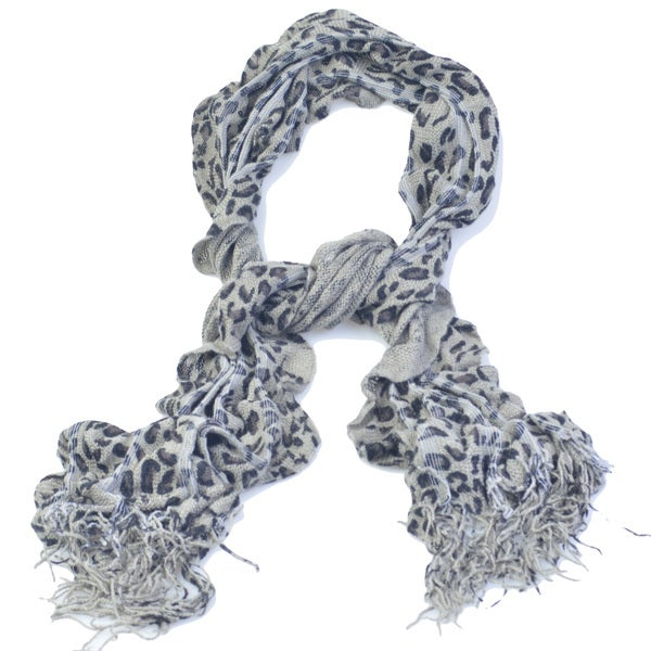 Shop Kate Marie Gigi Leopard Print Ruffle Edge Knit Scarf Free