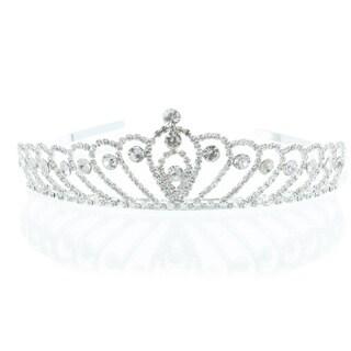 Kate Marie 'Cara' Silver Rhinestone Crown Tiara