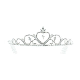 Kate Marie 'Pam' Cross Rhinestone Tiara Headband with Hair Combs