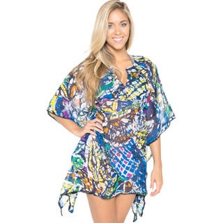 La Leela Bikini Cover up Sheer Lightweight Chiffon Abstract Bikini Swimsuit TUNIC TOP Dress Blue
