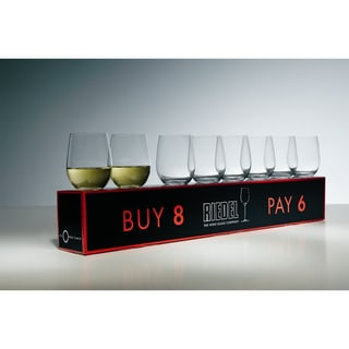 Riedel O Mixed Cabernet/ViognierTumbler, Set of 6 Plus 2 Bonus Glasses (8 Total)