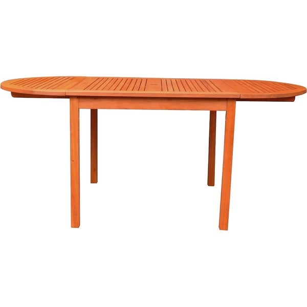 Vifah 71 Inch Outdoor Eucalyptus Oval Dining Table Free Shipping