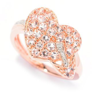 Rose Gold over Silver Morganite and Diamond Accent Heart Ring