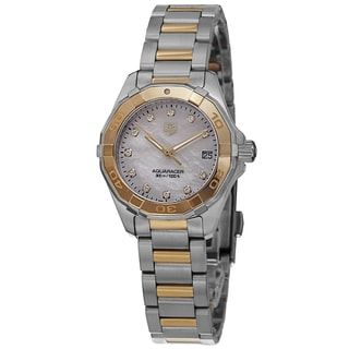 Tag Heuer Women's WAY1451.BD0922 '300 Aquaracr' Mother of Pearl Dial Two Tone Bracelet Quartz Watch