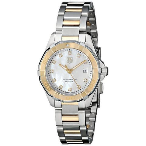 Tag Heuer Women's WAY1451.BD0922 '300 Aquaracr' Mother of Pearl Dial Two Tone Bracelet Quartz Watch