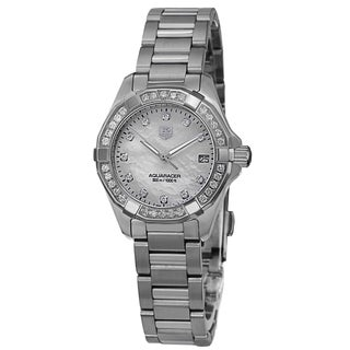 Tag Heuer Women's WAY1414.BA0920 '300 Aquaracr' Mother of Pearl Diamond Dial Stainless Steel Bracelet Watch
