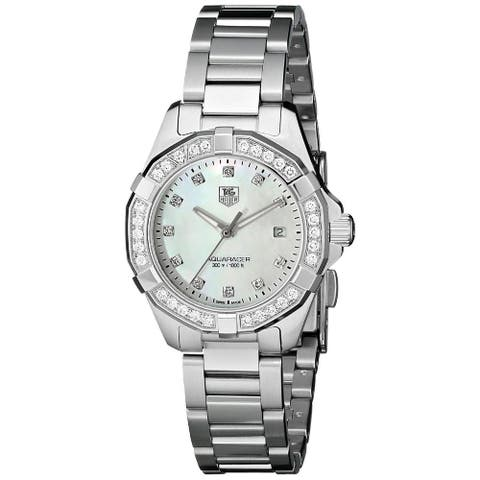 Tag Heuer Women's WAY1414.BA0920 '300 Aquaracr' Mother of Pearl Diamond Dial Stainless Steel Bracele