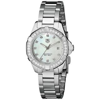 Link to Tag Heuer Women's WAY1414.BA0920 '300 Aquaracr' Mother of Pearl Diamond Dial Stainless Steel Bracele Similar Items in Women's Watches