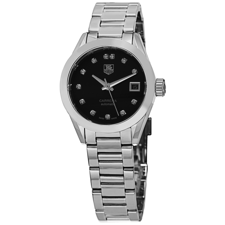 baf6b2ba0a3 Tag Heuer Women's 'Carrera' Black Diamond Dial Stainless Steel Automatic  Watch