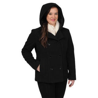 Excelled Women's Faux Wool Black Hooded Peacoat - Size Medium (As Is Item)