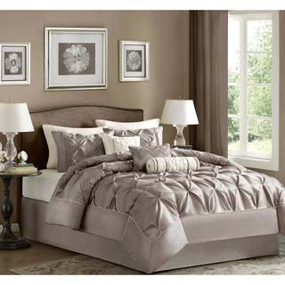 Madison Park Vivian Polyester Taupe Solid Tufted 7-piece Comforter King Size (As Is Item)