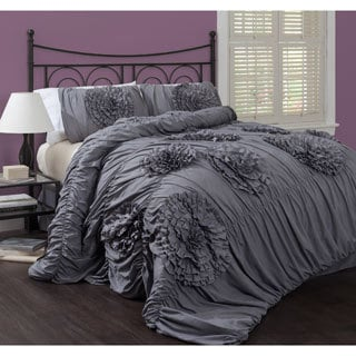 Lush Decor Serena Grey 3-Piece Comforter Set - King Size (As Is Item)